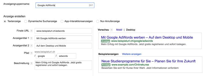 Textanzeigen Google AdWords